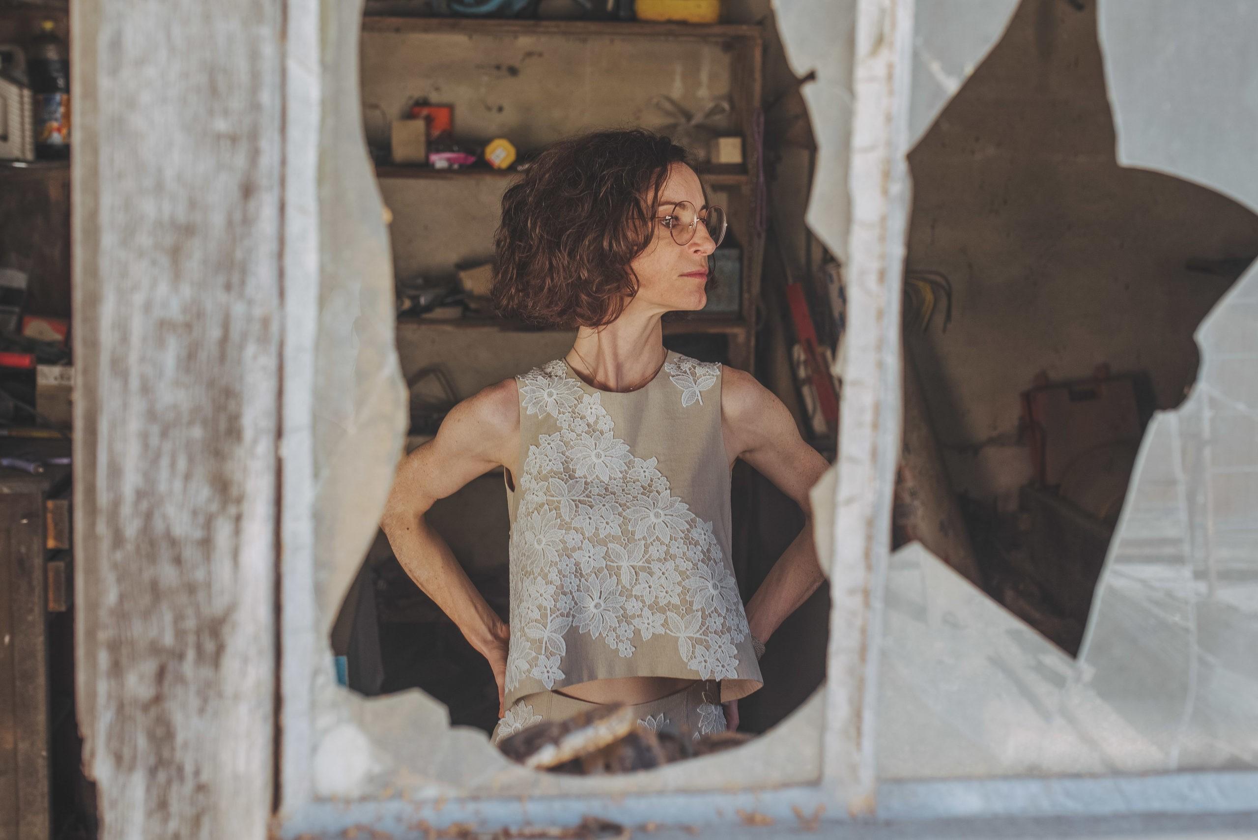 Tailleur femme lin et dentelle, Séverine Maire Créatrice By Sue-Sue Dijon
