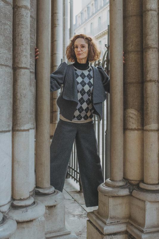 Tailleur pantalon large, Taille haute, Modèle unique, By Sue-Sue, Créatrice Dijonnaise