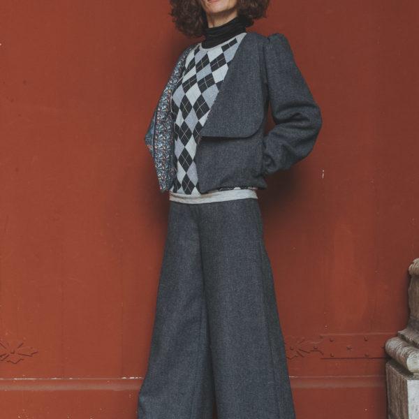 Pantalon large, Pantalon taille haute, Pantalon hiver, Automne Hiver 2020, By Sue-Sue, Collection automne hiver 2020