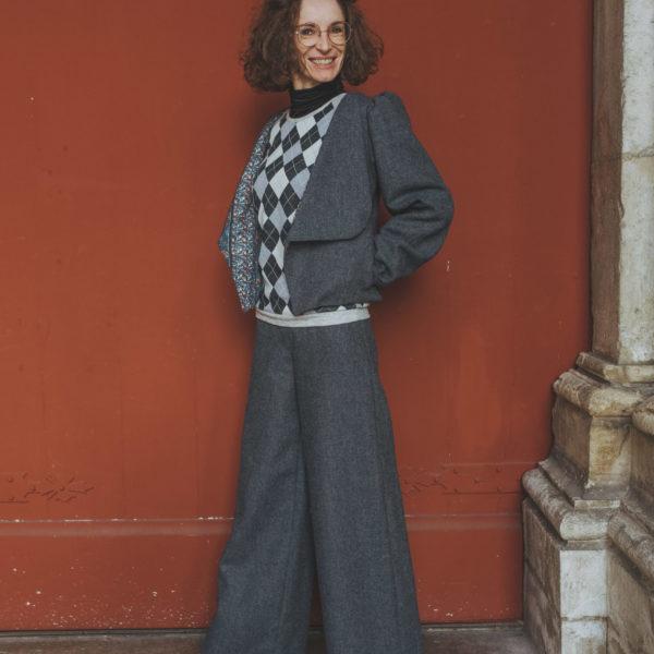 Tailleur pantalon large taille haute By Sue-Sue